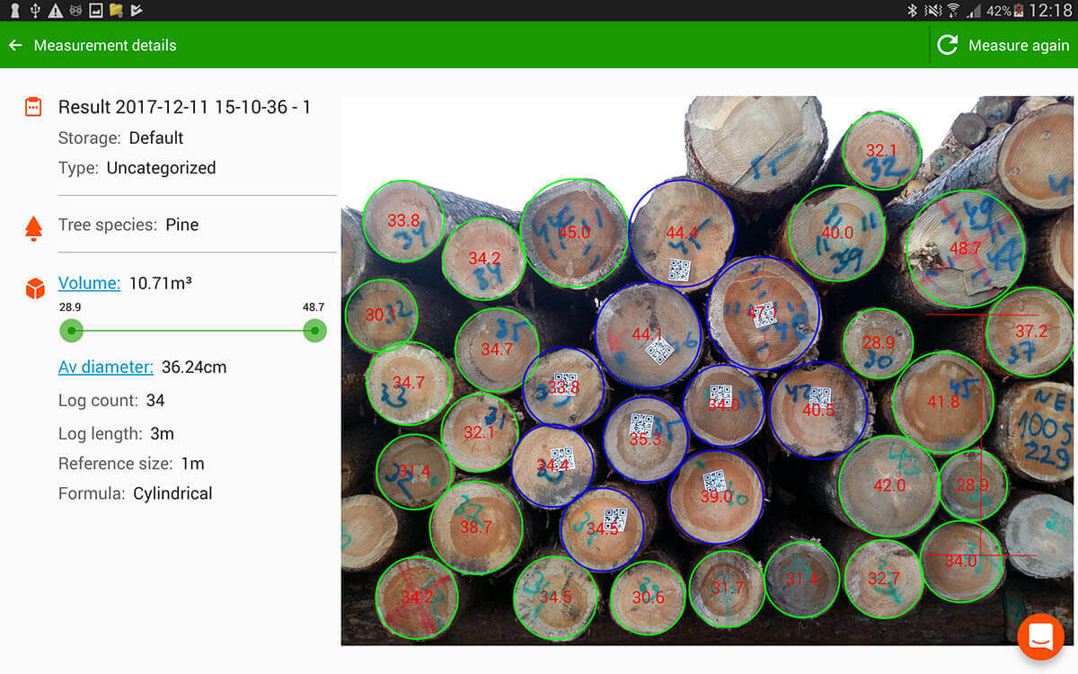 En plus des diamètres, maintenant timbeter détecte les qr codes – une solution parfaite pour ceux qui exportent des conteneurs de billons!