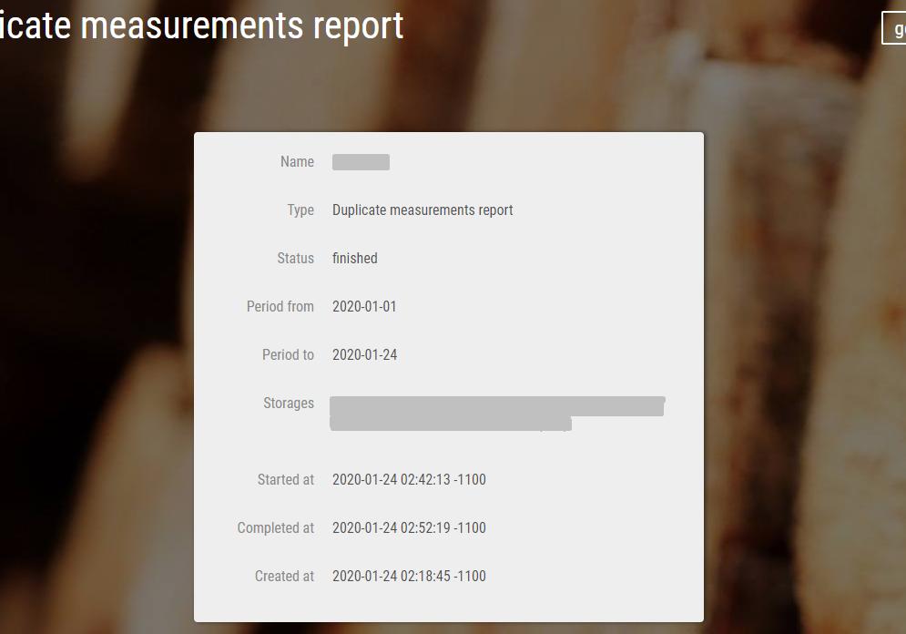 Duplicate report